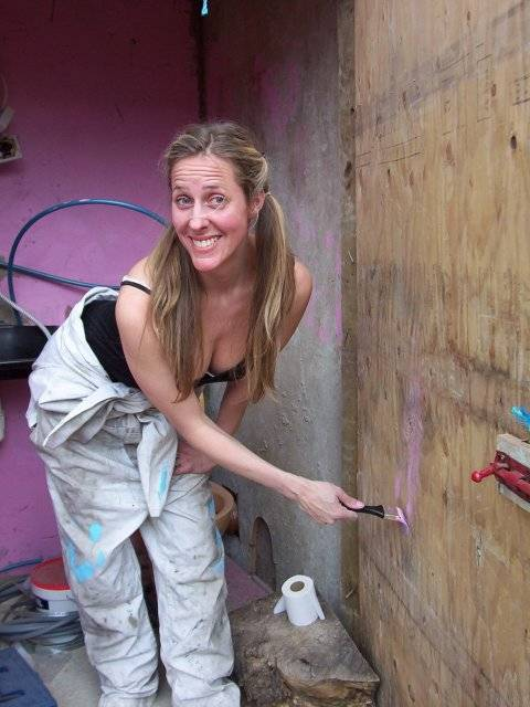claire paints the loo, made from a £2 'recycled' pan and old hoarding ply.