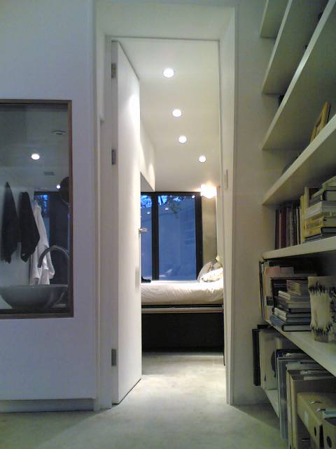 view into master bedroom from main space.