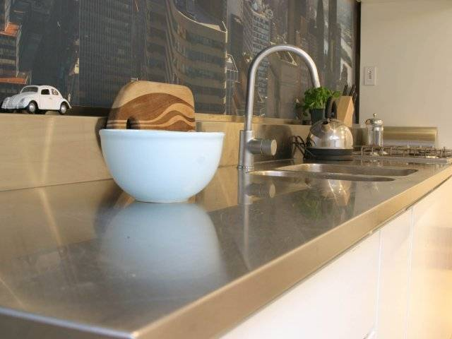 kitchen counter with new york beyond.