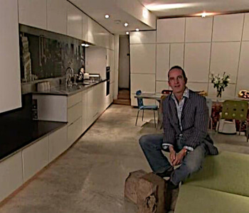 kevin mccloud and the famous sliding glass roofs on grand designs south london house with monty ravenscroft and claire loewe.